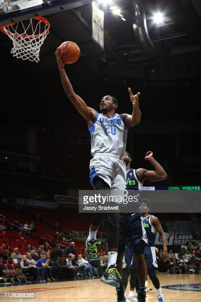 DeAndre Daniels of the Texas Legends goes up for a shot against Jonathan Stark of the Iowa Wolves in an NBA GLeague game on February 20 2019 at the...