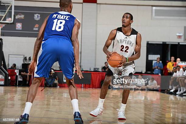 DeAndre Daniels of the Toronto Raptors handles the ball against the Los Angeles Clippers on July 18 2014 at the Cox Pavilion in Las Vegas Nevada NOTE...