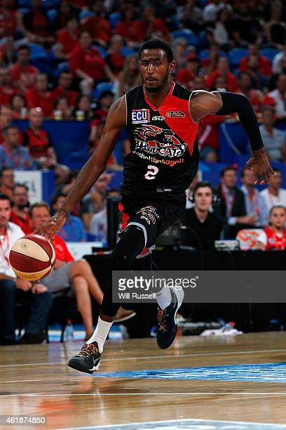 DeAndre Daniels of the Wildcats brings the ball up the court during the round 15 NBL match between the Perth Wildcats and Melbourne United at Perth...