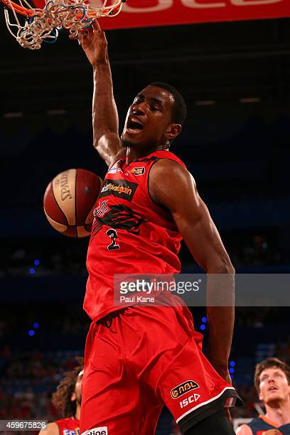 DeAndre Daniels of the Wildcats dunks the ball during the NBL round eight game between the Perth Wildcats and the Cairns Taipans at Perth Arena on...