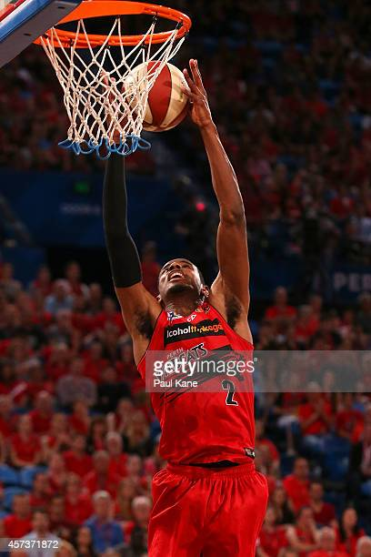 DeAndre Daniels of the Wildcats rebounds the ball during the round two NBL match between the Perth Wildcats and the Wollongong Hawks at Perth Arena...