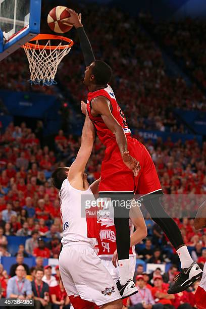 DeAndre Daniels of the Wildcats sets for a dunk during the round two NBL match between the Perth Wildcats and the Wollongong Hawks at Perth Arena on...