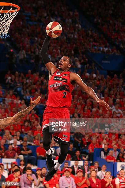 DeAndre Daniels of the Wildcats sets to dunk the ball during the round two NBL match between the Perth Wildcats and the Wollongong Hawks at Perth...