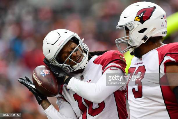 DeAndre Hopkins of the Arizona Cardinals celebrates his touchdown during a game against the Cleveland Browns at FirstEnergy Stadium on October 17,...