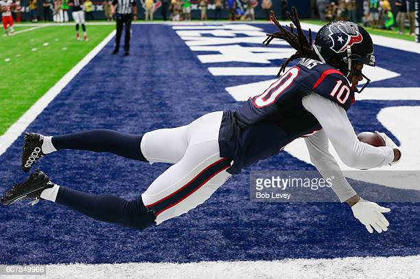 DeAndre Hopkins of the Houston Texans catches a 27 yard pass in the first quarter against the Kansas City Chiefs at NRG Stadium on September 18 2016...