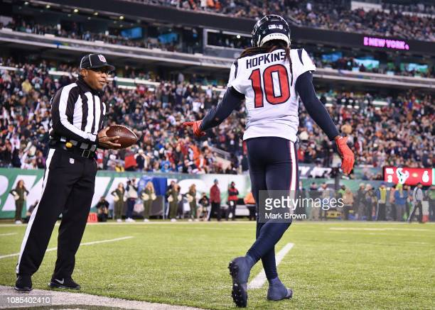DeAndre Hopkins of the Houston Texans in action against the New York Jets at MetLife Stadium on December 15 2018 in East Rutherford New Jersey