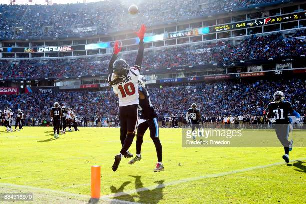 DeAndre Hopkins of the Houston Texans jumps for a incomplete pass against the Tennessee Titans during the first half at Nissan Stadium on December 3...
