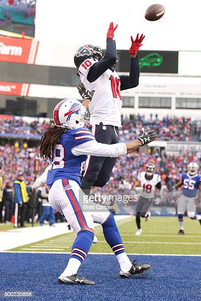 DeAndre Hopkins of the Houston Texans makes a touchdown reception in front of Ronald Darby of the Buffalo Bills during the second half at Ralph...