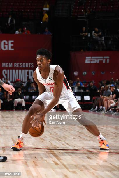DeAndre Hunter of the Atlanta Hawks handles the ball against the Minnesota Timberwolves during Day 3 of the 2019 Las Vegas Summer League on July 7...