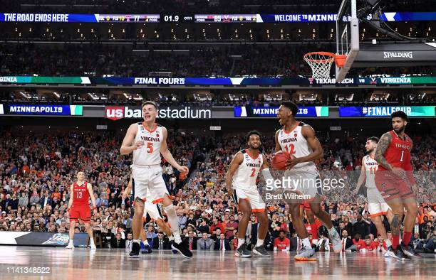 De'Andre Hunter of the Virginia Cavaliers celebrates after defeating the Texas Tech Red Raiders in the 2019 NCAA Photos via Getty Images men's Final...
