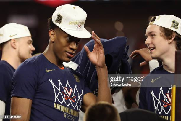 De'Andre Hunter of the Virginia Cavaliers celebrates after his teams 8577 win over the Texas Tech Red Raiders in the 2019 NCAA men's Final Four...
