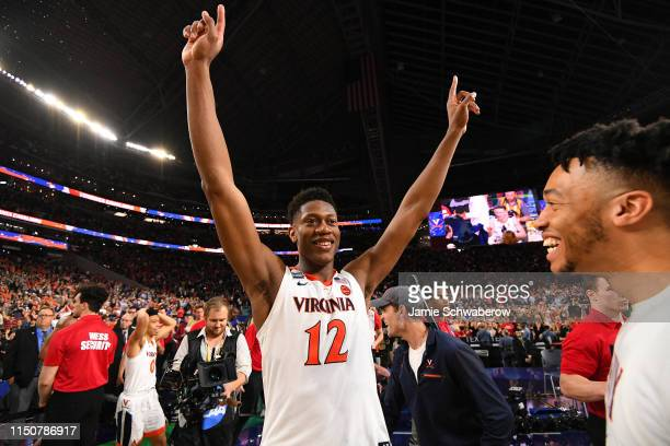 De'Andre Hunter of the Virginia Cavaliers celebrates their victory over the Texas Tech Red Raiders during the 2019 NCAA Photos via Getty Images Men's...