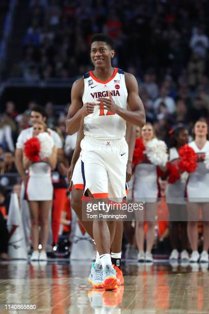 De'Andre Hunter of the Virginia Cavaliers looks on prior to the 2019 NCAA Final Four semifinal against the Auburn Tigers at US Bank Stadium on April...