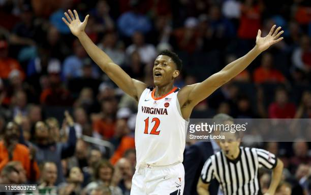 De'Andre Hunter of the Virginia Cavaliers reacts after a play against the North Carolina State Wolfpack during their game in the quarterfinal round...