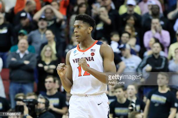 De'Andre Hunter of the Virginia Cavaliers reacts against the Purdue Boilermakers during overtime of the 2019 NCAA Men's Basketball Tournament South...