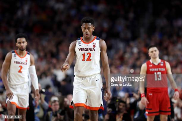 De'Andre Hunter of the Virginia Cavaliers reacts against the Texas Tech Red Raiders in the first half during the 2019 NCAA men's Final Four National...