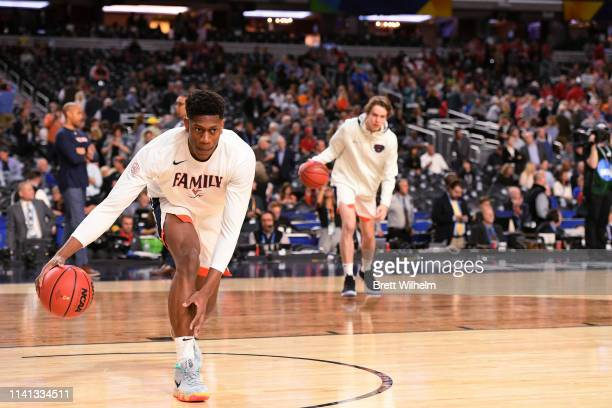 De'Andre Hunter of the Virginia Cavaliers warms up before the game against the Texas Tech Red Raiders in the 2019 NCAA men's Final Four National...
