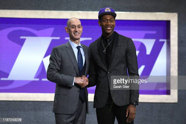 De'Andre Hunter poses with NBA Commissioner Adam Silver after being drafted with the fourth overall pick by the Los Angeles Lakers during the 2019...