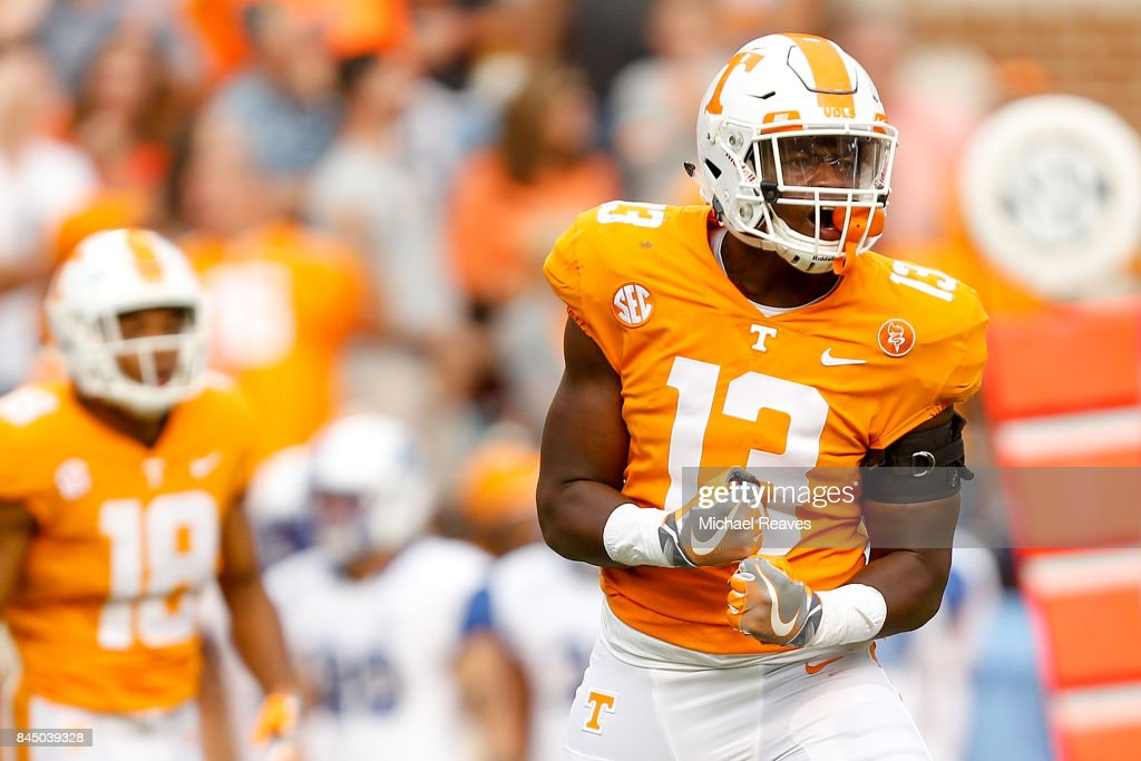 Deandre Johnson #13 of the Tennessee Volunteers reacts after forcing a fumble during the second half of the game against the Indiana State Sycamores at Neyland Stadium on September 9, 2017 in Knoxville, Tennessee.