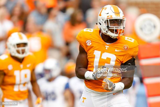 Deandre Johnson of the Tennessee Volunteers reacts after forcing a fumble during the second half of the game against the Indiana State Sycamores at...