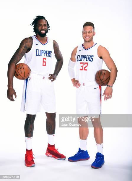 DeAndre Jordan and Blake Griffin of the LA Clippers poses for a portrait during the 201718 NBA Media Day at the Los Angeles Clippers Training Center...