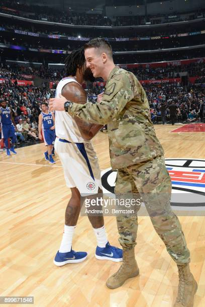 DeAndre Jordan and Marshall Plumlee shake hands during the game against the Philadelphia 76ers on November 13 2017 at STAPLES Center in Los Angeles...