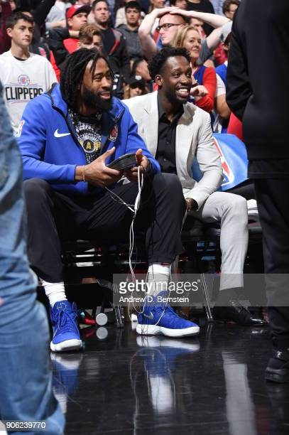 DeAndre Jordan and Patrick Beverley of the LA Clippers look on during the game against the Houston Rockets on January 15 2018 at STAPLES Center in...