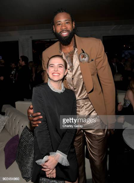 DeAndre Jordan and Zoey Deutch attends the 2018 InStyle and Warner Bros 75th Annual Golden Globe Awards PostParty at The Beverly Hilton Hotel on...