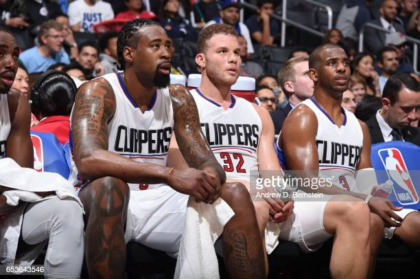 DeAndre Jordan Blake Griffin and Chris Paul of the LA Clippers are seen during the game against the Milwaukee Bucks on March 15 2017 at STAPLES...