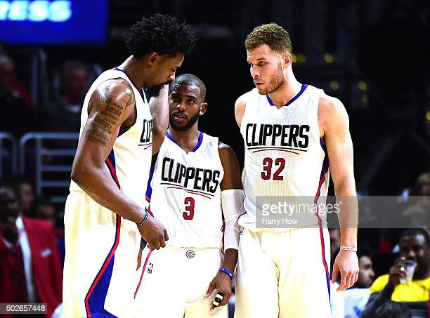 DeAndre Jordan Chris Paul and Blake Griffin of the Los Angeles Clippers gather during the game against the Oklahoma City Thunder at Staples Center on...