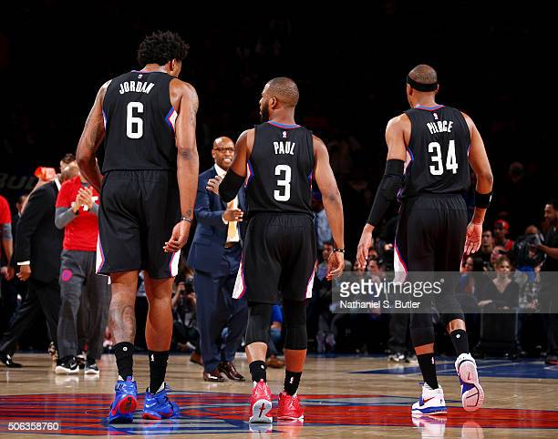 DeAndre Jordan Chris Paul and Paul Pierce of the Los Angeles Clippers during the game against the New York Knicks on January 22 2016 at Madison...