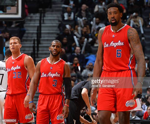 DeAndre Jordan Chris Paul Blake Griffin of the Los Angeles Clippers look on against the Brooklyn Nets at the Barclays Center on February 22015 in...