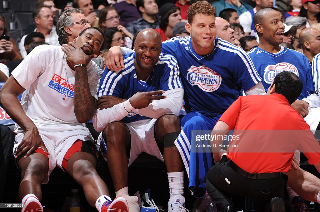 DeAndre Jordan #6, Lamar Odom #7 and Blake Griffin #32 of the Los Angeles Clippers celevrate on the bench in the game against the Golden State Warriors at Staples Center on January 5, 2013 in Los Angeles, California.