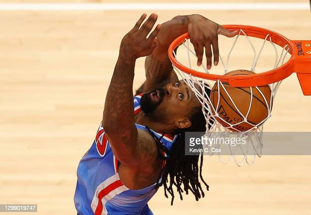 DeAndre Jordan of the Brooklyn Nets dunks against the Atlanta Hawks during the first half at State Farm Arena on January 27, 2021 in Atlanta,...