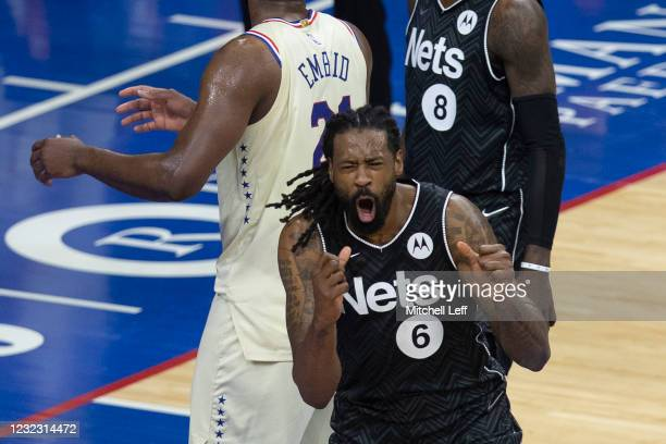 DeAndre Jordan of the Brooklyn Nets reacts after being call for a foul on Joel Embiid of the Philadelphia 76ers in the second quarter at the Wells...