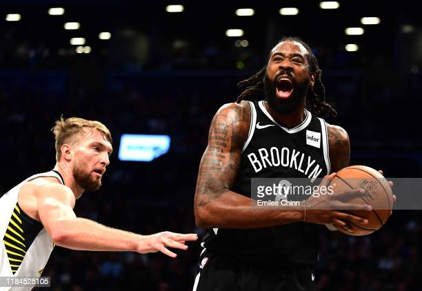 DeAndre Jordan of the Brooklyn Nets reacts during the second half of their game against the Indiana Pacers at Barclays Center on October 30, 2019 in...