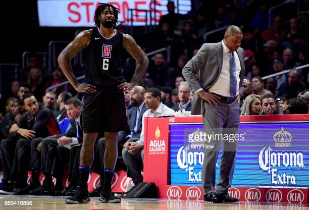 DeAndre Jordan of the LA Clippers and Doc Rivers of the LA Clippers react to a Jordan technical foul during a 126107 loss to the Utah Jazz at Staples...