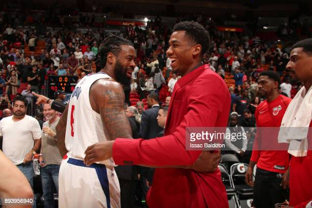 DeAndre Jordan of the LA Clippers and Hassan Whiteside of the Miami Heat after the game on December 16 2017 at American Airlines Arena in Miami...