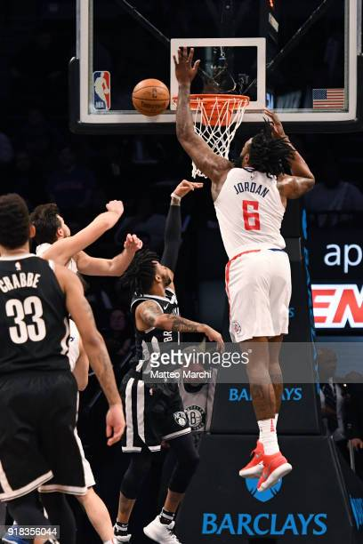 DeAndre Jordan of the LA Clippers blocks a shot made by D'Angelo Russell of the Brooklyn Nets during the game at Barclays Center on February 12 2018...