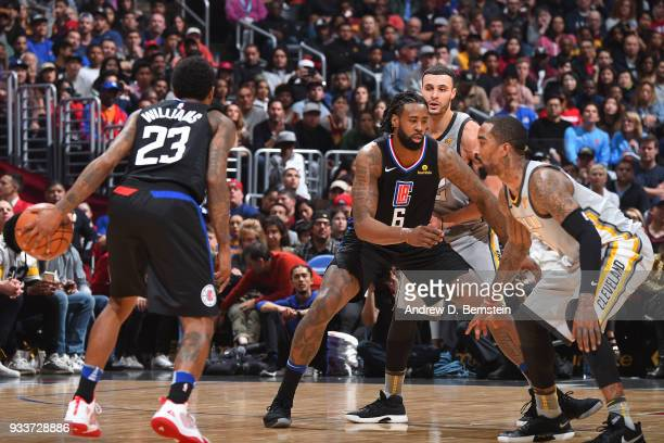 DeAndre Jordan of the LA Clippers defends during the game against the Cleveland Cavaliers on March 9 2018 at STAPLES Center in Los Angeles California...