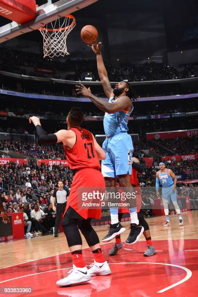 DeAndre Jordan of the LA Clippers drives to the basket during the game against the Portland Trail Blazers on March 18 2018 at STAPLES Center in Los...
