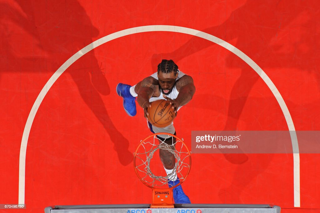 DeAndre Jordan #6 of the LA Clippers dunks against the Los Angeles Lakers on April 1, 2017 at STAPLES Center in Los Angeles, California.