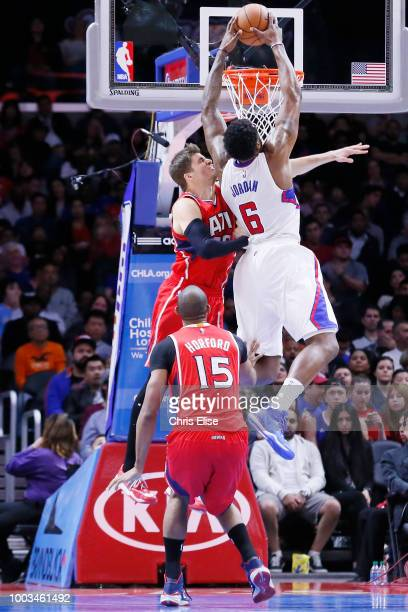 DeAndre Jordan of the LA Clippers dunks the ball against the Atlanta Hawks on January 5 2015 at the STAPLES Center in Los Angeles California NOTE TO...