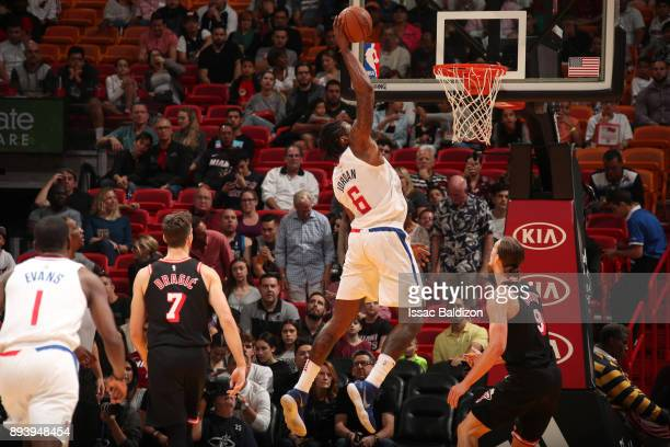 DeAndre Jordan of the LA Clippers dunks the ball against the Miami Heat on December 16 2017 at American Airlines Arena in Miami Florida NOTE TO USER...