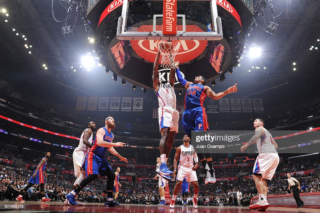 DeAndre Jordan #6 of the LA Clippers dunks the ball against Tobias Harris #34 of the Detroit Pistons during a game on November 7, 2016 at the STAPLES Center in Los Angeles, California.