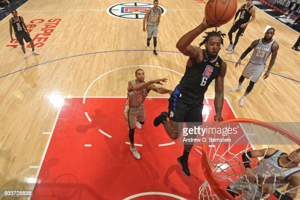 DeAndre Jordan of the LA Clippers dunks the ball during the game against the Cleveland Cavaliers on March 9 2018 at STAPLES Center in Los Angeles...