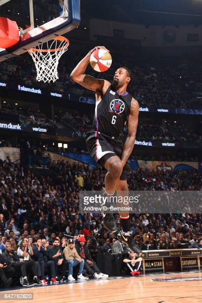 DeAndre Jordan of the LA Clippers dunks the ball during the Verizon Slam Dunk Contest during State Farm AllStar Saturday Night as part of the 2017...