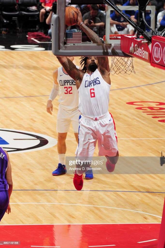 DeAndre Jordan #6 of the LA Clippers goes to the basket against the Sacramento Kings on October 12, 2017 at STAPLES Center in Los Angeles, California.