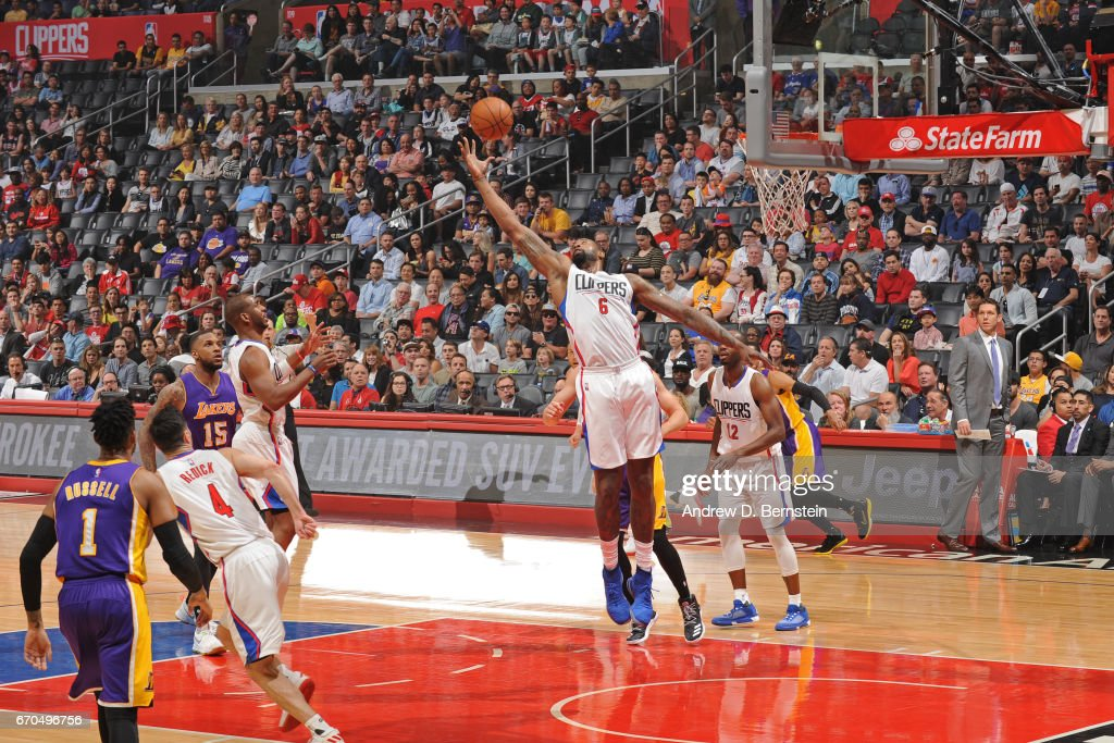 DeAndre Jordan #6 of the LA Clippers goes up for a rebound against the Los Angeles Lakers on April 1, 2017 at STAPLES Center in Los Angeles, California.