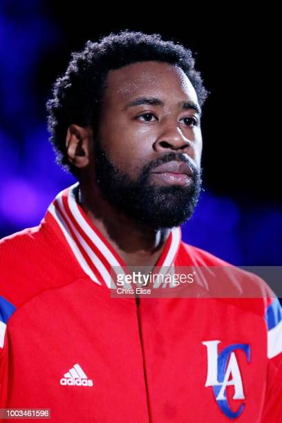 DeAndre Jordan of the LA Clippers looks on before the game against the Atlanta Hawks on January 5 2015 at the STAPLES Center in Los Angeles...